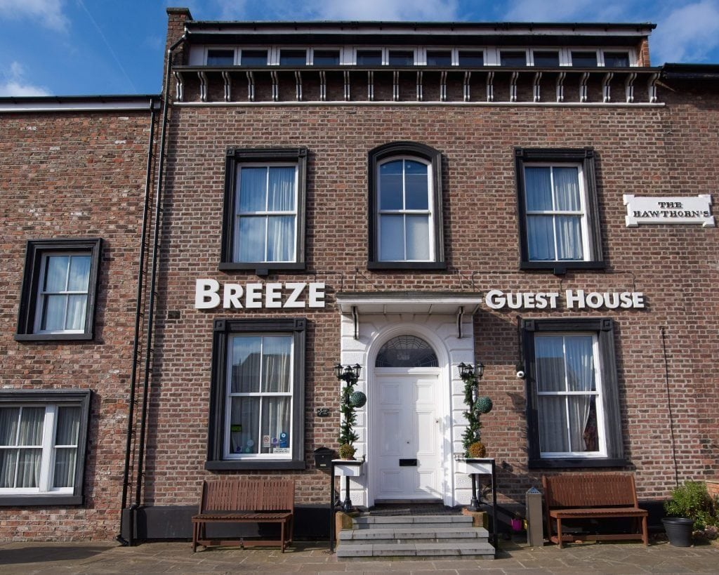 Image of the front of the Breeze Guest House